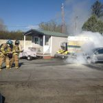 Putting out car fire