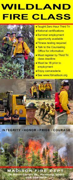 High School wildland Fire Class flyer